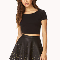 FOREVER 21 Secret Rebel Grommet Skater Skirt Black/Gold