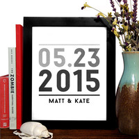 Names and Date Custom Art Print In Gray Gradiant, Love, Minimalist Art, Home Office Decor, Wedding decor, Wedding Gift, Anniversary Gift