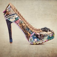 Collage art sparkling prom or party shoes...custom made for you