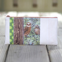 Pencil Pouch Woodgrain and Owls by kaylah7 on Etsy
