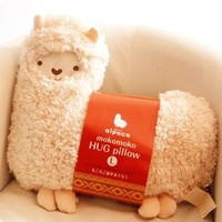 Aunt Merry Mokomoko Llama Alpaca Hug Pillow Cushion Doll (beige)