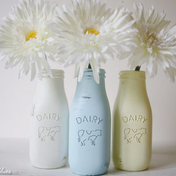 Painted and Distressed Milk Bottles - Vases - Summer - Home Decor