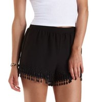 Black Embroidered Fringe High-Waisted Shorts by Charlotte Russe