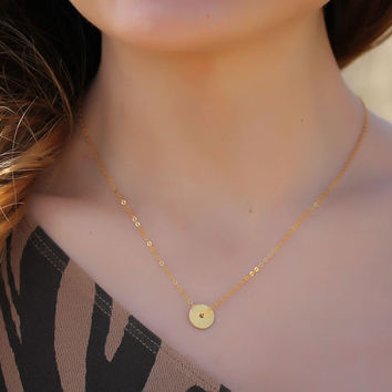 """Gold circle necklace, tiny disc necklace, bridesmaid necklace, circle necklace, 14k gold filled, bridal necklace, """"Target"""" Necklace"""