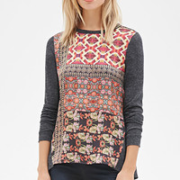LOVE 21 Ornate Satin-Front Top Charcoal/Multi