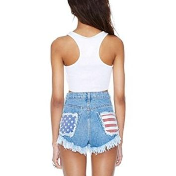 USA Vintage Shredded American Flag Levi Cut Off Ripped Frayed Shorts