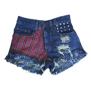 Women's High Waisted Destroyed Plaid Studded Wrangler Fringe Grunge Shorts