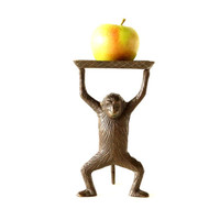 Vintage / Antique Monkey Tray in Cast Brass - Let's Monkey Around / I Go Ape Over You - Home Decor, Good Luck Gift, Quirky Desk Tray