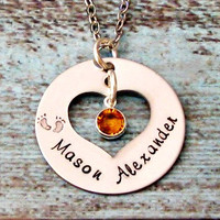 Birthstone Hand Stamped Personalized Mommy Necklace
