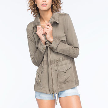 Ashley Flap Front Womens Anorak Jacket Olive  In Sizes