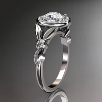 platinum diamond floral wedding ringengagement by anjaysdesigns