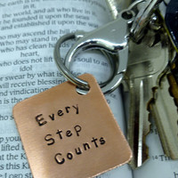 Hand Stamped Copper Keychain - Every Step Counts - Track & Field - Running - Inspirational