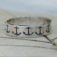 Anchor - Eco Friendly Recycled Sterling Silver Ring Band  - 5mm - Hand Forged and Hand Stamped - Custom Size