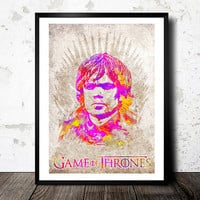 Game Of Thrones poster. Tyrion Lannister. The Imp. House Lannister poster. Watercolor poster. Handmade poster.