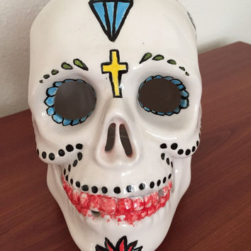 day of the dead painted ceramic skull flowers roses arts & crafts