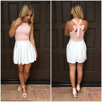 Combo Cross Bow Dress in Pink & Ivory