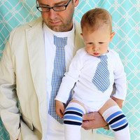 NEW Daddy Baby Set of Tie Shirt for Father and Son. Any Size Onesuit, Any Size T-Shirt, & Any Tie.  Gift for Dad and Baby, Christmas, Holiday