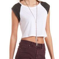 Combo Cuffed Cap Sleeve Crop Top by Charlotte Russe