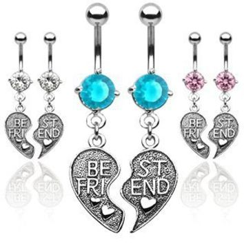 316L Surgical Steel Pair of Aqua CZ Best Friends Belly Navel Rings