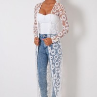 Deena White Sheer Floral Overlay Maxi Cardigan | Pink Boutique
