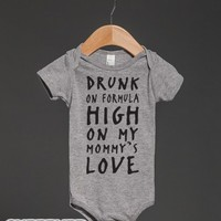 Drunk On Formula-Unisex Heather Grey Baby Onesuit