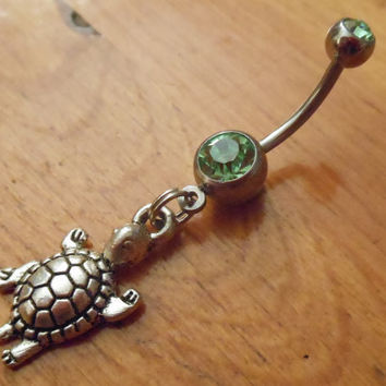 Belly button ring - Sea turtle belly button ring