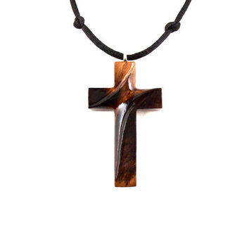 Wood Cross Necklace, Wooden Cross Pendant, Mens Cross Necklace, Mens Cross Pendant, Mens Wood Cross, Christian Jewelry, Hand Carved Cross