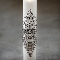 Free People Womens Henna Heart Tall Pillar Candle - White One