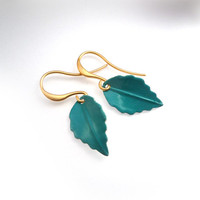 Turquoise And White Powder Coated Leaf Earrings On Gold Earwires