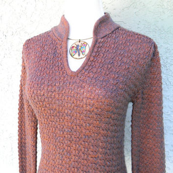 Vintage Sweater, 70s Spring Fashion, Fitted Mauve Sweater by Levis - Levi Strauss & Co Women's Sweater, small s, Vintage Womens Knitwear