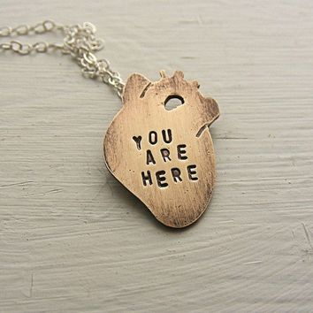 Small Anatomical Heart Necklace Brass You by HouseThatCrowBuilt