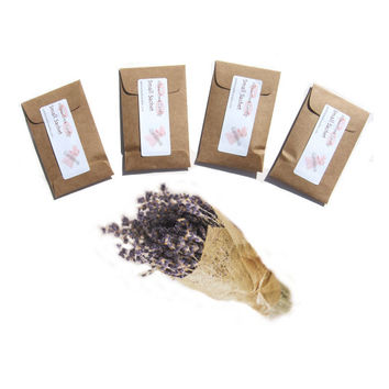 4 Lavender Sachets, Scented Paper Sachets, Drawer Closet Freshener, Kraft Brown, Modern Rustic Decor, Custom, Small