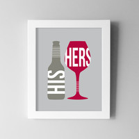 Wine Dining Room Wall Art - Beer Kitchen Print - Modern Digital Print / Poster - His and Hers - Kitchen Dining Decor 8x10