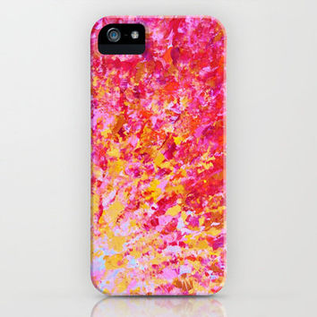 ROMANTIC DAYS - Lovely Sweet Romance, Valentine's Day Sweetheart Pink Red Abstract Acrylic Painting iPhone Case by EbiEmporium   Society6