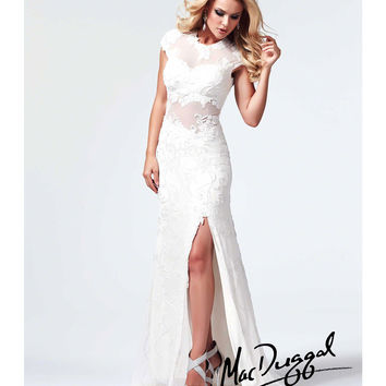 Mac Duggal 1903M Ivory Beaded Cap Sleeve Prom Dress 2015 Prom Dresses