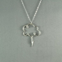 Lightning Cloud Necklace, 925 Sterling Silver, Simple, Pretty, Lovely Jewelry