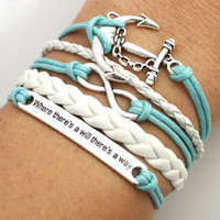 """Infinity Anchor """"where there's a will there's way"""" Bracelet Antique Silver Mint White Leather Bracelet Cute Bracelet Gift Bracelet"""