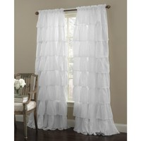 "Gypsy Ruffled Panel White 60"" Width x 84"" Length"