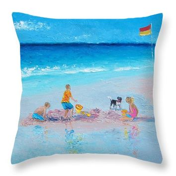 "Beach Painting Building Sandcastles by Jan Matson Throw Pillow 14"" x 14"""