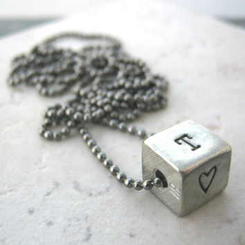 Personalized Pewter Cube Necklace