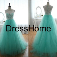 Long Prom Dress / Cheap Lace prom Dress With Tulle / Ball Gown Prom Dress / Blue Green Party Dress / Long Evening Dress