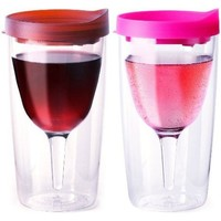 Vino2Go Wine Tumblers, 10-Ounce, Set of 2, Merlot and Pink