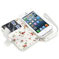 iPhone 5/5S Premium Faux Leather Wallet Case with Floral Interior (White)