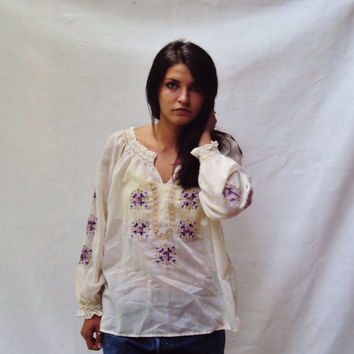 70s PEASANT Blouse Top Sm S Med M Vintage Bohemian Peasant Embroidered Top Paper Thin Blouse Hippie