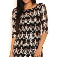 Scallop Sequin Bodycon Dress with Three Quarter Sleeves