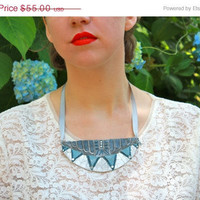Christmas in July Sale Statement Art Deco Necklace: Chrysler Building Inspired Bib Necklace