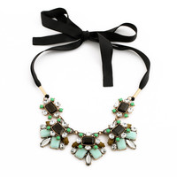 Black Satin Gem Necklace