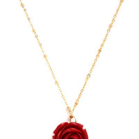 ModCloth Fairytale Retro Rosie Necklace in Red