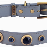 Imperial Faceted Blue Sand Stone & Sodalite Dog Collar - Med/Large Dogs