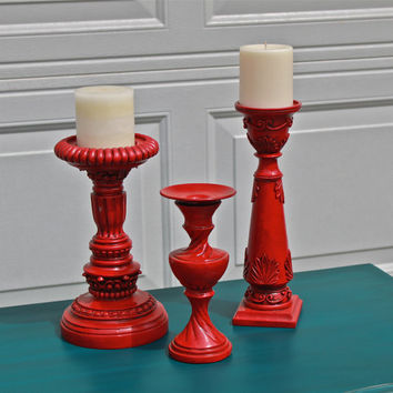 Red Candle Holder/ Candlestick/ Bright Shabby Chic /Upcycled Home Decor